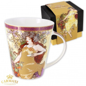 CARMANI - Large porcelain mug decorated with 'Autumn' by Alphonse Mucha 450ml