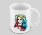 Hiros®Suicide Girl . Harley Quinn Themed 330ml Ceramic Mug , water colour style portrait of Margot Robbie.s Harley Quinn Gift Mug , The Joker.s girlfriend - DC comics , Suicide Squad , Customise with any name / text or image.