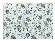 Queens Hidden World Rectangle Indian Silk Placemats 29 X 21CM Acetate, Cork Backed, Multi-Colour, 29 x 21 x 21 cm