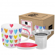 PPD Tea Cup Mug with Lid and Strainer Porcelain in Gift Box in a Colourful Design Aquarell Hearts