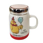 CARMANI - Chicken Design Porcelain Coffee, Tea, Drinking Mug with lid 350ml