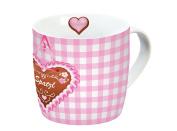 Infinite by Geda Labels 12687 Oktoberfest Spatzl Porcelain Mug with Handle, Pink/White, 11.5 x 9.5 x 9 cm