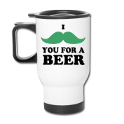 MZONE Multi-functional Travel Mugs I Moustache You For A Beer BPA-Free Travel Mug White