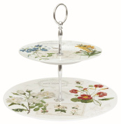 Easy Life Two Tier Porcelain Cake Stand, Multi-Colour, 27 x 27 x 4 cm