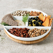 Bamboo Lazy Susan with 4 Porcelain Dishes Simplicity for Presenting Veggies, Crackers, Nuts, Fruit or Sweets.