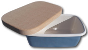 Blue vitreous enamel butter dish with wooden