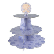 Homeford Baby Boy Star Carboard Cupcake Stand, 3-Tier, 10-inch, Lavender, 25.4 cm
