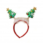 Christmas Tree deeley bopper headband with white fur and tinsel trim