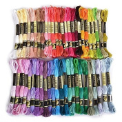 Embroidery Thread, 100% Cotton, 50 x Assorted Coloured Skeins With one LUXEOS Velvet Bag