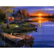 erthome Beautiful Landscape Lakeside Lodge Diamond Embroidery 5D Diamond DIY Painting Cross Stitch Crafts