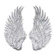 Rcool 1 Pair Of Sequins Patches For Clothes DIY Patch Wings Sew On Embroidery Patch Clothing Supplies Crafts Trim