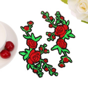 IGEMY 1PC DIY Embroidered Roses Floral Collar Sew Patch Sticker Applique Badge
