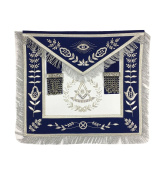 Masonic Past Master Apron Silver Hand Embroidery Apron Blue Velvet