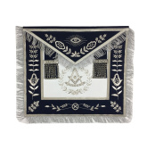 Masonic Past Master Apron Brand New Silver Hand Embroidery Apron Navy