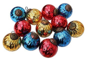 12 x Coloured Glass Distressed Baubles