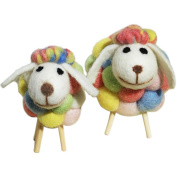 Da Jia Inc Handicrafts Sheep with Baby Lamb Wool Felt Sheep Family Toys Decorative Ornaments Plush Doll Desktop Ground