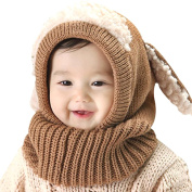 Serda Winter Baby Children Hat Scarf Boys Girls Earflap Dog Warm Scarves Skull Cap,Coffee
