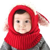 Serda Winter Baby Children Hat Scarf Boys Girls Earflap Dog Warm Scarves Skull Cap,Red