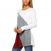 Vin beauty Women's 3 Colours Stitching Irregular Hem Long Sleeves Shirt