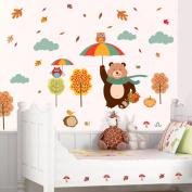 Zooarts Bear Owls Happy Harvest Day Mural Wall Sticker Decals Kids Room Decor