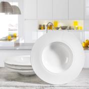 "4 x Pasta Plate ""Genova"" Porcelain Plate with Sea Shell Form Diameter 28cm"