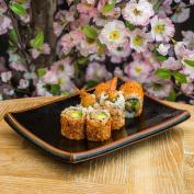 Japanese Sushi Plate with Black Tenmoku Glaze
