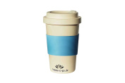 coffee-to-go reusable cup, based on natural raw material | happy-to-go | with practical screw cap, environmentally friendly, foodsafe (laboratory tested), dishwasher suitable | for commuters, fits perfectly into the cup holder, for traveller, business  ..