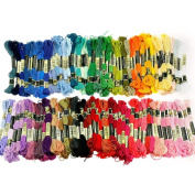 Pinzhi®100pcs Multi-Colour Soft Cotton Cross Stitch Embroidery Threads Floss Sewing Crafts DIY Cross-Stitch Cotton Embroidery Thread Sewing Crafts