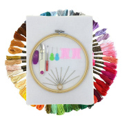 Embroidery Starter Kit, Wartoon Full Range of Cross Stitch Tool Kit Including 20cm Bamboo Embroidery Hoop, 50 Colour Threads, 30cm by 46cm 14 Count Classic Reserve Aida and Tool Kit