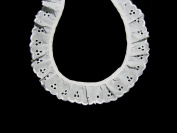 Altotux 3.8cm White Gathered Ruffled Cotton Eyelet Lace Trim Lot Notions by 5 Yds