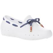 Mini Mocks Boys Girls Kids Childrens Slip On Loafer Shoes - White Navy - 1