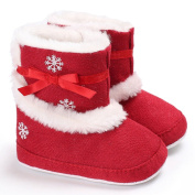 For 0-18M Baby Snow Booties,Woopower Girl Christmas snowflake Pattern Soft Soled High Prewalker Winter Warm Plush Shoes