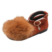 Yukong Baby Girls Plush Faux Fur Princess Shoes Velvet Flat Shoes with Ankle Straps