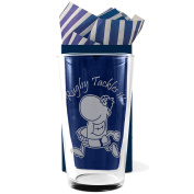 "Rugby, Straight Sided, Conical One Pint Beer Glass ""Rugby Tackles it!"" Professionally Engraved, In a Gift Box with Co-ordinating Tissue as shown. Rugby Gift, Rugby Present, Rugby Fan"