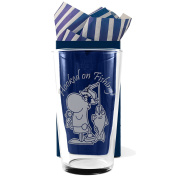 "Fishing, Straight Sided, Conical One Pint Beer Glass ""Hooked on Fishing!"", Professionally Engraved, In a Gift Box with Co-ordinating Tissue as shown. Fishing Gift, Present, Fisherman Gift,"
