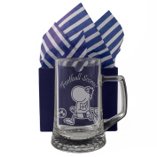 "Football Tankard ""Football Scores!"" One Pint Glass Tankard, Professionally Engraved, Presented in a Gift Box with Co-ordinating Tissue as shown. Football Gift, Present, Football Fan Birthday"