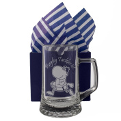 "Rugby Tankard ""Rugby Tackles it!"" One Pint Glass Tankard, Professionally Engraved, Presented in a Gift Box with Co-ordinating Tissue as shown. Rugby Gift, Rugby Present, Rugby Fan Birthday"