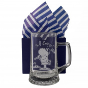 "Golf Tankard ""Golf Swings!"" One Pint Glass Tankard, Engraved, Presented in a Gift Box with Co-ordinating Tissue as shown. Golf Gift, Golf Present, Golfers Birthday"