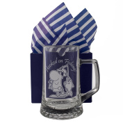 "Fishing Tankard ""Hooked on Fishing!"" One Pint Glass Tankard, Professionally Engraved , Presented in a Gift Box with Co-ordinating Tissue as shown. Fishing Gift, Present, Fisherman Gift,"