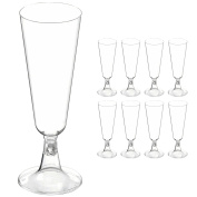 8x Champagne/Wine Drinking Glasses - Strong Plastic Toasting Flutes For Weddings/Parties