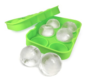Ginsanity Cool Mega Ice Cube Tray (6 x Giant Ice Ball Boulders) for Gin / Whisky / Drinks - 4.5cm - Green