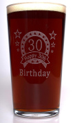 (FBA) Engraved 30TH BIRTHDAY STAR Pint Glass Gift