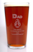 (FBA) Engraved STAR WARS BB8 DAD Pint Glass - Gift Idea For Birthday/Father's Day/Christmas