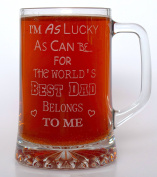 (FBA) Engraved WORLD'S BEST DAD Pint Glass TANKARD - Gift Idea For Birthday/Father's Day/Christmas