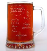 (FBA) Engraved DADDY MOON & BACK BIRTHDAY Pint Glass TANKARD