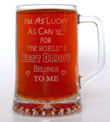 (FBA) Engraved WORLD'S BEST DADDY Pint Glass TANKARD - Gift Idea For Birthday/Father's Day/Christmas