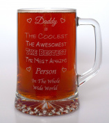 (FBA) Engraved AWESOMEST DADDY Pint Glass TANKARD - Gift Idea For Birthday/Father's Day/Christmas