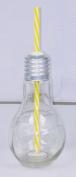 Lightbulb Retro Glass Jar With Yellow Straw - Vintage Style