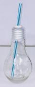 Lightbulb Retro Glass Jar With Blue Straw - Vintage Style