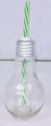 Lightbulb Retro Glass Jar With Green Straw - Vintage Style